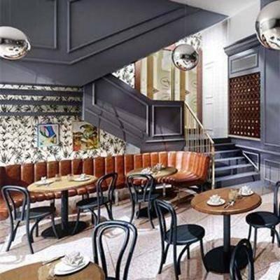 布艺吧椅, 大理石吧台, 铁艺椅子, 实木桌子, 餐桌椅子, 餐具, 布艺沙发, 铁艺吊灯, 现代餐厅, 餐厅设计, 餐桌椅组合