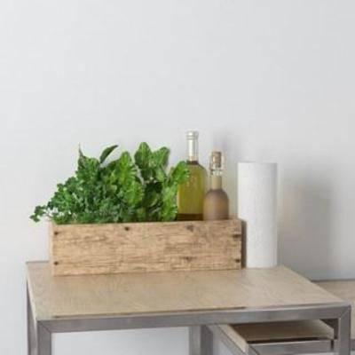 陈设品组合, 木艺花盆, 酒瓶, 装饰组合, 北欧简约, 摆件, 工艺品, 陈列品, 植物