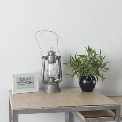 陈设品组合, 装饰组合, 北欧简约, 煤油灯, 摆件, 陈列品, 相框, 盆栽, 植物