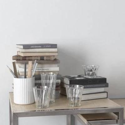 陈设品组合, 文具, 装饰组合, 北欧简约, 玻璃制品, 摆件, 玻璃杯, 书籍