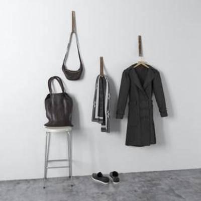 鞋包, 衣物, 装饰组合, 北欧简约, 圆凳, 衣架, 陈列品