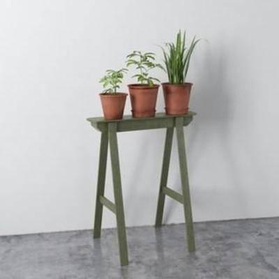 陈设品组合, 实木花架, 装饰组合, 北欧简约, 盆栽, 植物