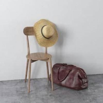 皮革包, 帽子, 装饰组合, 北欧简约, 实木椅子, 陈列品