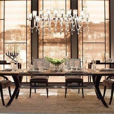 水晶吊灯, 餐桌椅组合, 台灯, 餐厅设计, 现代简约, 摆件, 餐具, 餐桌椅子, 玻璃制品, 欧式吊灯, 现代