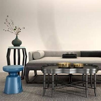 沙发组合, 沙发, 沙发茶几组合, 盆栽, 现代简约, 茶几, 置物架, 新中式
