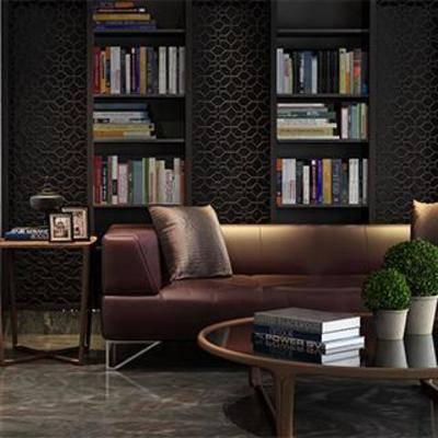 实木书架, 铁艺边几, 铁艺椅子, 皮艺沙发, 书房设计, 铁艺茶几, 现代简约, 书房