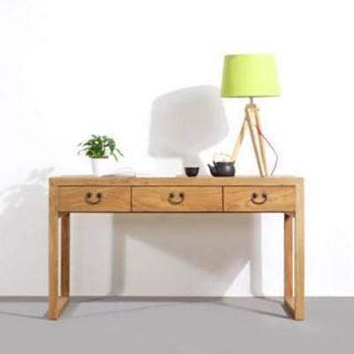 台灯, 书桌, 摆件, 抽屉, 实木桌, 中式简约