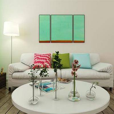 现代, 沙发, 挂画, 落地灯, 桌几, 摆件, 花瓶, 台灯