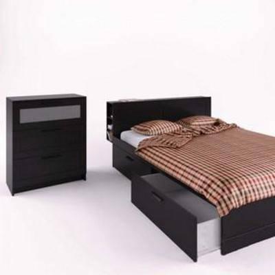 实木床具, 实木柜, 双人床, 卧室家具, 床头柜, 现代简约