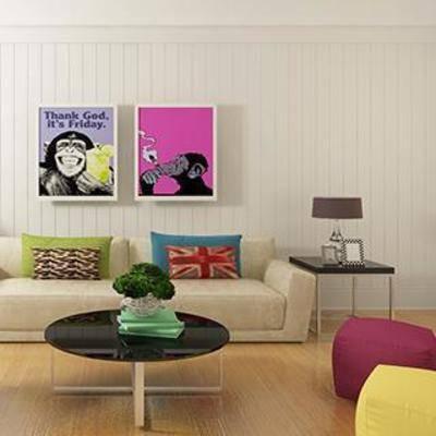 现代, 沙发, 桌几, 挂画, 台灯, 单椅, 花瓶, 摆件