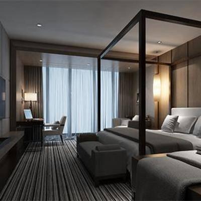 北欧, 卧室, 床, 床头柜, 台灯, 壁灯, 落地灯, 地毯, 窗帘, 电视柜, 下得乐3888套模型合辑