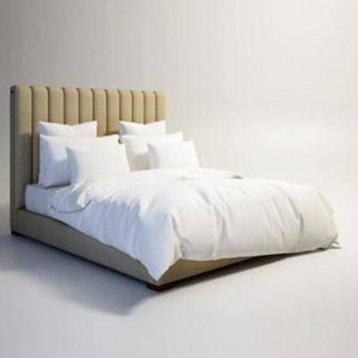 布艺床具, 田园风, 双人床, 卧室家具, 美式风格