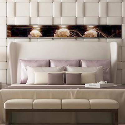 欧式风格, 新古典, 台灯, 床头柜, 装饰画, 双人床, 床具组合, 布艺床具, 下得乐3888套模型合辑