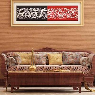 沙发茶几, 植物, 边柜, 装饰画, 实木茶几, 实木沙发, 台灯东南亚, 实木沙发椅, 东南亚, 下得乐3888套模型合辑