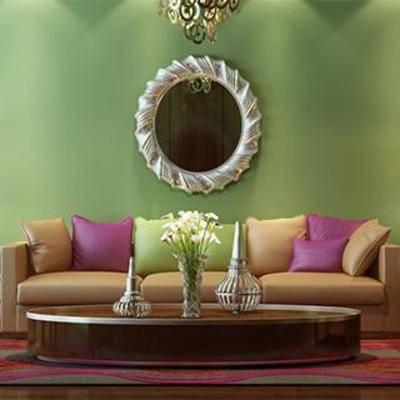 沙发茶几, 沙发椅, 台灯, 茶几, 东南亚, 装饰镜, 边几, 皮艺沙发, 皮艺沙发凳, 植物装饰品, 下得乐3888套模型合辑
