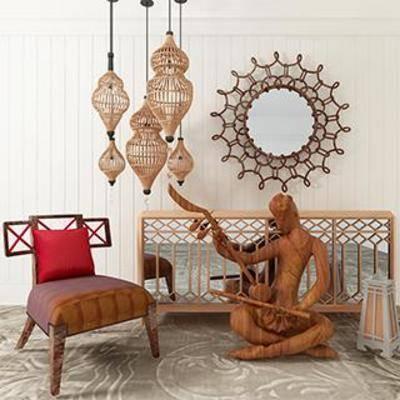装饰柜, 东南亚, 工艺品, 装饰镜, 皮革椅, 实木边柜, 藤编吊灯, 木雕饰品, 下得乐3888套模型合辑