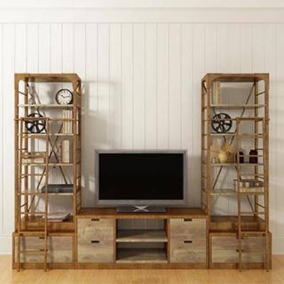 液晶显示器, 实木柜, 柜, 摆件, 置物柜, 电视柜, 陈列品, 工业风, 下得乐3888套模型合辑