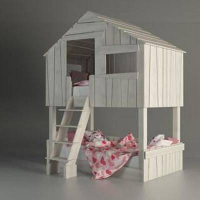布艺床具, 实木床, 双层床, 儿童床, 现代简约