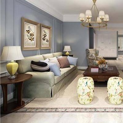 客厅, 简欧, 边柜, 电视, 沙发