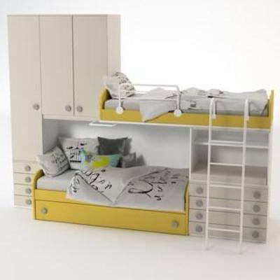 布艺床具, 实木柜, 实木床, 收纳, 抽屉, 双层床, 现代风格