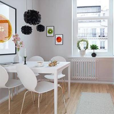 植物装饰品, 装饰画, 餐具, 厨具, 现代简约, 橱柜, 餐桌椅组合, 吊灯