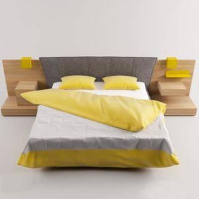 布艺床具, 北欧现代, 欧式简约, 实木床, 双人床
