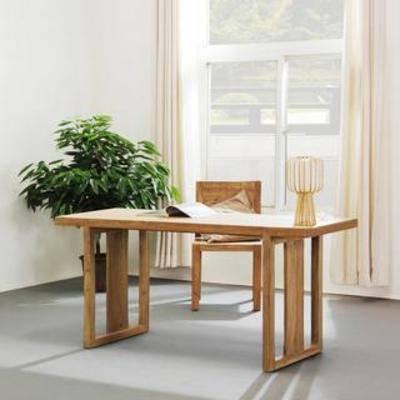 植物装饰品, 实木桌, 实木椅, 办公桌, 书桌, 桌椅组合, 中式风格