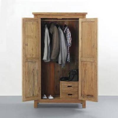 衣物, 实木柜, 收纳, 柜, 衣柜, 中式风格