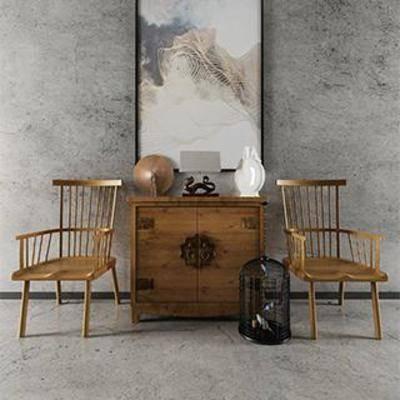 中式风格, 陈列品, 铁艺装饰品, 实木椅, 实木边柜, 瓷器摆件, 装饰话, 下得乐3888套模型合辑