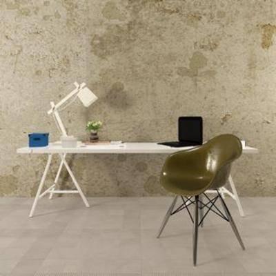 台灯, 书桌, 单人椅, 北欧现代, 木艺方桌, 手提电脑, 书桌椅组合
