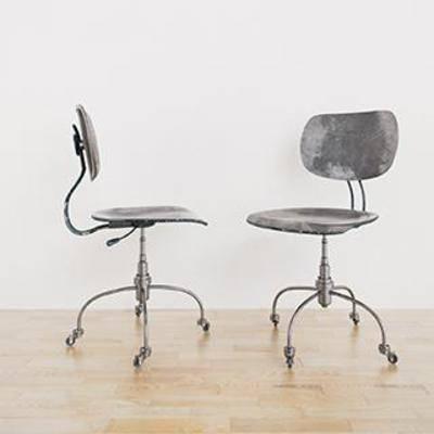滑轮椅, 铁艺椅, 现代椅子, 办公椅, 工业风, 美式风格