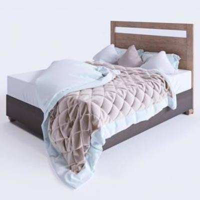 布艺床具, 实木床, 双人床, 现代简约
