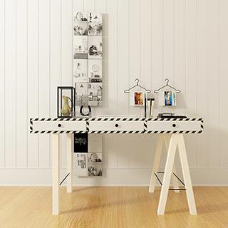 北欧工业风白色实木书桌