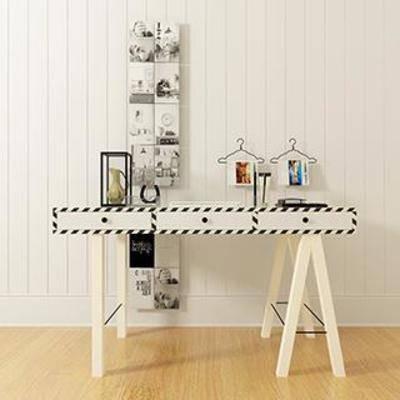 工业风, 书桌, 装饰品, 摆件, 实木桌, 北欧现代