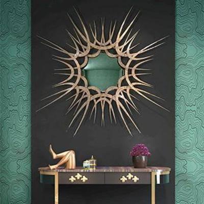 铁艺挂饰, 装饰台, 装饰镜, 摆件, 后现代, 装饰品, 端景台