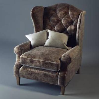 拉扣沙发, 美式乡村, 布艺沙发, 休闲沙发, 单人沙发