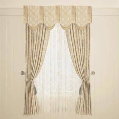 现代窗帘, 双层窗帘, 布艺窗帘, 窗帘, 美式风格