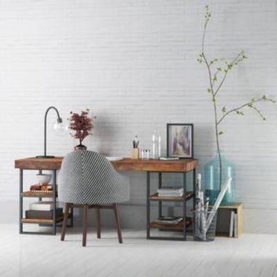台灯, 桌椅组合, 美式风格, 工业风, 相框, 办公桌, 布艺椅, 文具, 实木书桌, 植物装饰品, 铁艺收纳筒, 国外模型