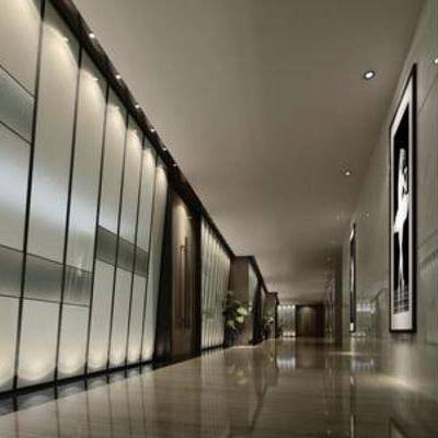 现代风格, 走廊, 挂画