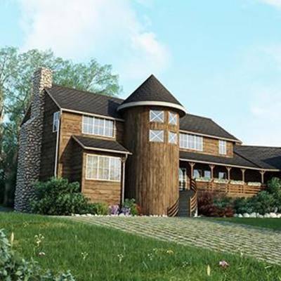 别墅模型, 独栋别墅, 室外建筑, 现代