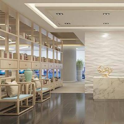大理石前台, 接待台, 混搭风, 实木书柜, 实木椅, 新中式