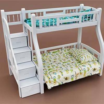实木床, 双层床, 儿童床, 现代简约