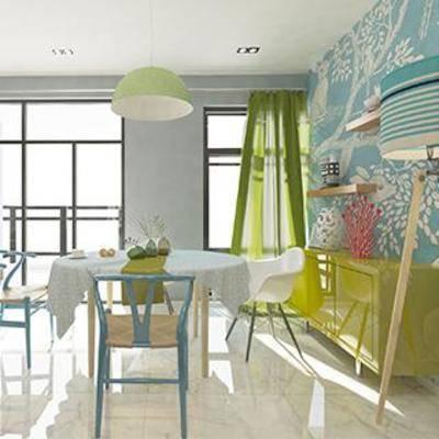 窗帘, 餐边柜, 餐桌椅组合, 吊灯, 北欧, 现代