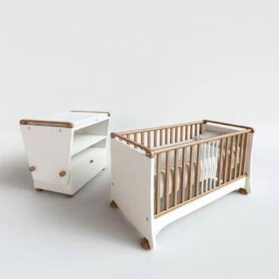 实木床, 婴儿床, 现代简约