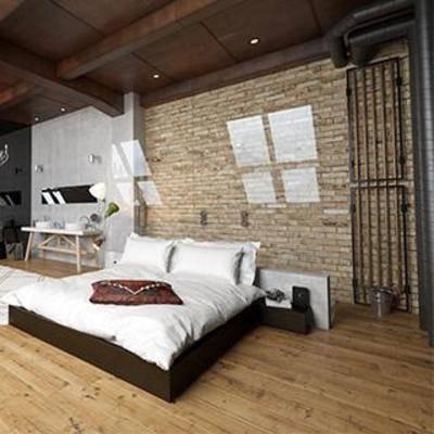 工业风, 卧室, c床头柜, 书桌, 地毯, 窗, 下得乐3888套模型合辑, 扮家家-积分兑换300套模型【四】