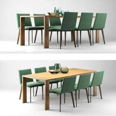 桌椅组合, 餐桌椅, 现代风格, 实木餐桌, 布艺餐椅, 国外模型, 现代, 下得乐3888套模型合辑