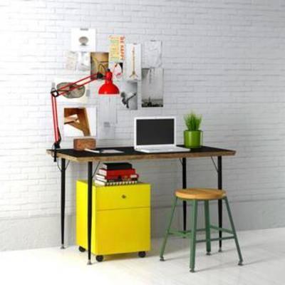 桌椅组合, 书桌椅组合, 工业风书桌组合, 工业风椅子组合, 装饰画组合, 国外模型, 工业风, 下得乐3888套模型合辑