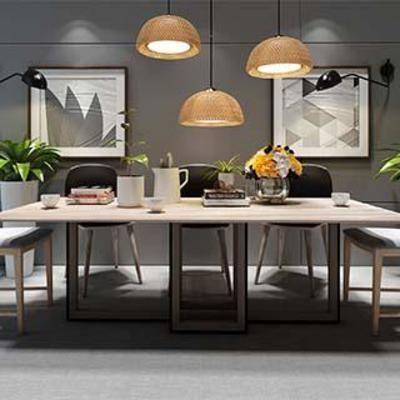 餐桌椅组合, 桌椅组合, 现代简约, 木艺餐桌椅组合, 木艺桌椅组合, 装饰画组合, 现代, 下得乐3888套模型合辑