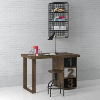 桌椅组合, 书桌椅组合, 工业风书桌组合, 工业风桌椅组合, 国外模型, 工业风, 下得乐3888套模型合辑