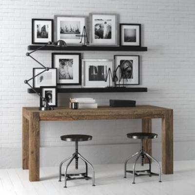 桌椅组合, 书桌椅组合, 工业风书桌组合, 工业风桌椅组合, 装饰画组合, 国外模型, 工业风, 下得乐3888套模型合辑